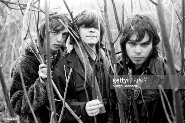 Danny Goffey, Mickey Quinn and Gaz Coombes of Supergrass, group portrait, Oxford, United Kingdom, 1994.