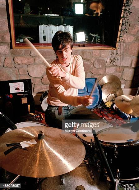 Danny Goffey of Supergrass, at Rockfield Studios in Wales during the recording of 'Life On Other Planets', United Kingdom, 2002.