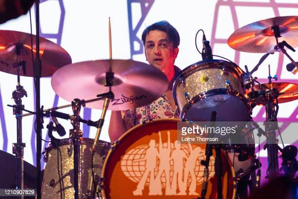 Danny Goffey of Supergrass performs at Alexandra Palace on March 06, 2020 in London, England.