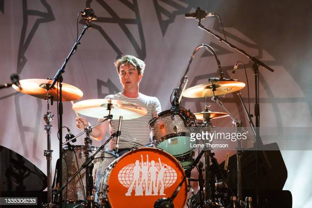 Danny Goffey of Supergrass performs at South Facing Festival on August 20, 2021 in London, England.