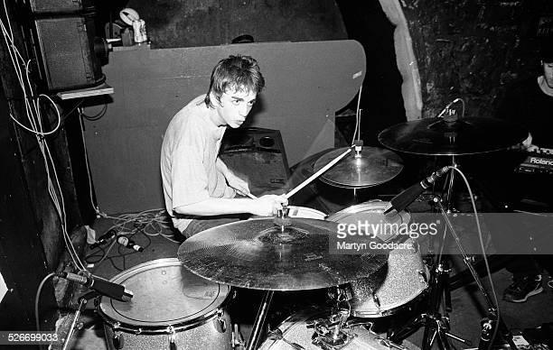 Danny Goffey of Supergrass performs on stage at Moles Club, Bath, United Kingdom, 1995.