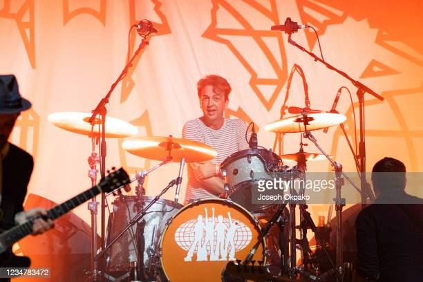 Danny Goffey, the drummer of Supergrass performs at South Facing Festival on August 20, 2021 in London, England.