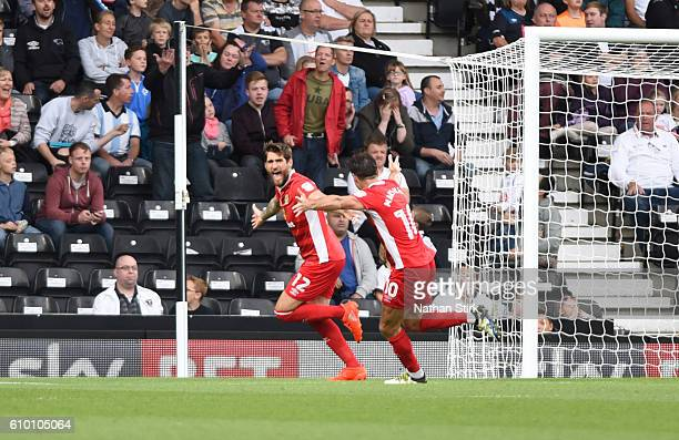 Danny Graham celebrates after scoring the second goal for Blackburn Rovers during the Sky Bet Championship match between Derby County and Blackburn...