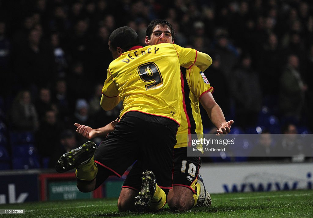 Danny Graham celebrates is goal for Watford during the npower Championship match between Ipswich Town and Watford at Portman Road on March 15, 2011 in Ipswich, England.