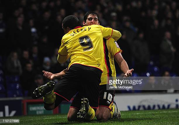 Danny Graham celebrates is goal for Watford during the npower Championship match between Ipswich Town and Watford at Portman Road on March 15 2011 in...