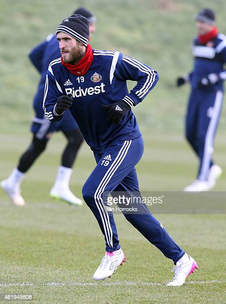 Danny Graham during a Sunderland AFC training session at the Academy of Light on January 22 2015 in Sunderland England