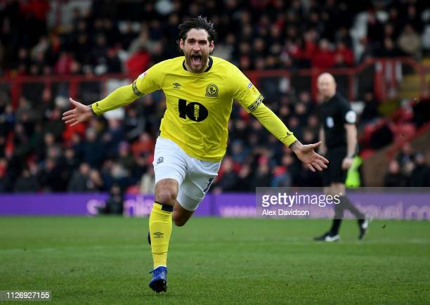 Danny Graham of Blackburn celebrates scoring his team's second goal during the Sky Bet Championship match between Brentford and Blackburn Rovers at...