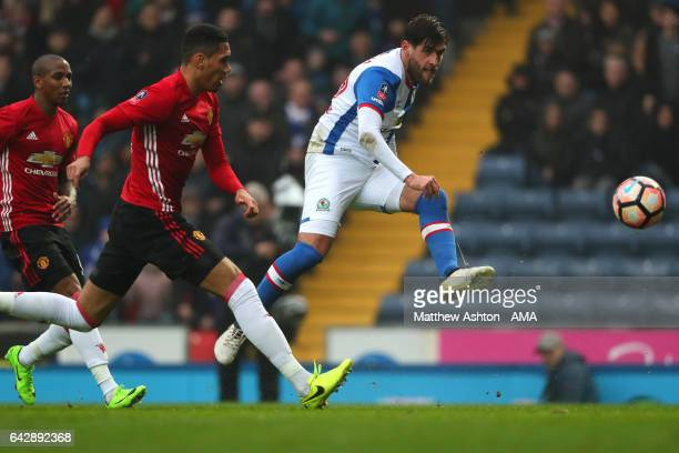Danny Graham of Blackburn Rovers scores the first goal to make the score 10 during the Emirates FA Cup Fifth Round match between Blackburn Rovers and...