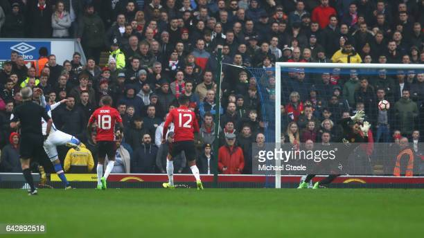 Danny Graham of Blackburn Rovers scores their first goal during The Emirates FA Cup Fifth Round match between Blackburn Rovers and Manchester United...