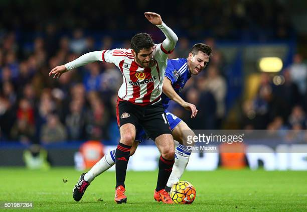 Danny Graham of Sunderland and Cesar Azpilicueta of Chelsea compete for the ball during the Barclays Premier League match between Chelsea and...