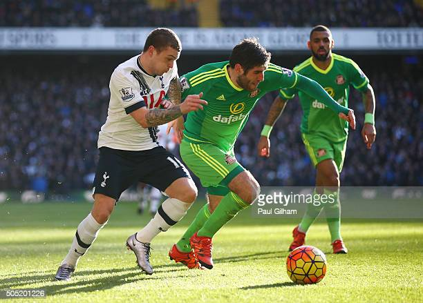 Danny Graham of Sunderland and Kieran Trippier of Tottenham Hotspur compete for the ball during the Barclays Premier League match between Tottenham...