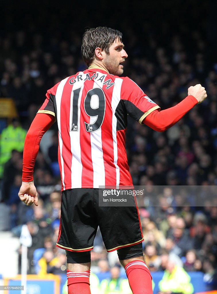 Danny Graham of Sunderland celebrates his deflected goal during the Barclays Premier League match between Everton and Sunderland at Goodison Park on May 09, 2015 in Liverpool, England.
