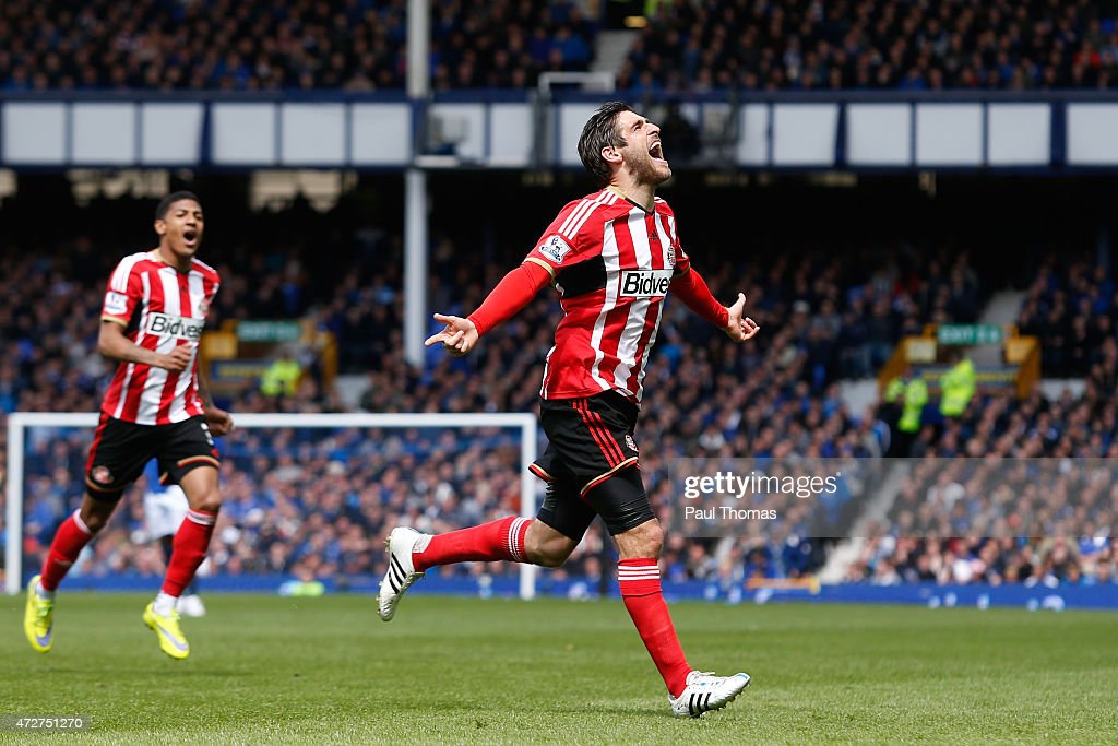 Danny Graham of Sunderland celebrates scoring the opening goal during the Barclays Premier League match between Everton and Sunderland at Goodison Park on May 9, 2015 in Liverpool, England.