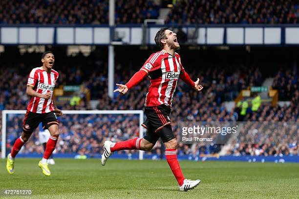 Danny Graham of Sunderland celebrates scoring the opening goal during the Barclays Premier League match between Everton and Sunderland at Goodison...