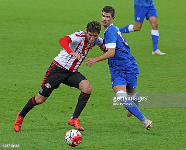 Danny Graham of Sunderland challenges Gorka Guruzeta Rodrriguez of Bilbao during the Barclays Premier League International Cup match between...