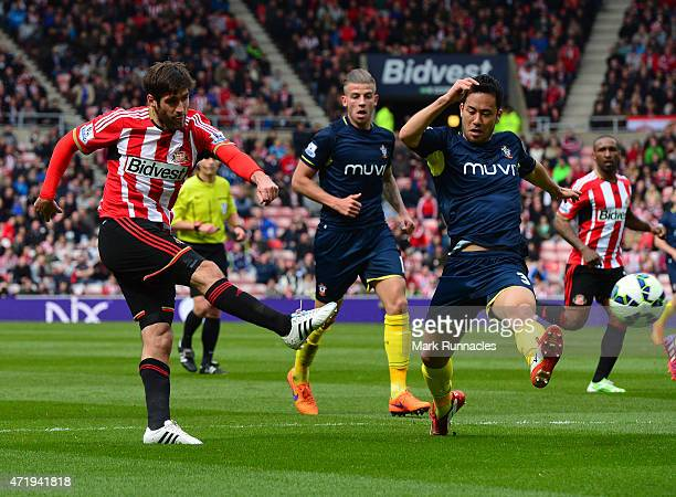 Danny Graham of Sunderland has a shot on goal during the Barclays Premier League match between Sunderland and Southampton at Stadium of Light on May...
