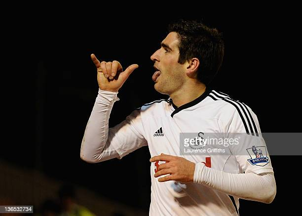 Danny Graham of Swansea celebrates after scoring the third goal during the FA Cup Third Round match sponsored by Budweiser between Barnsley and...