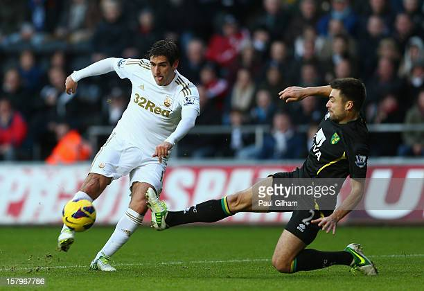 Danny Graham of Swansea City battles for the ball with Russell Martin of Norwich City during the Barclays Premier League match between Swansea City...