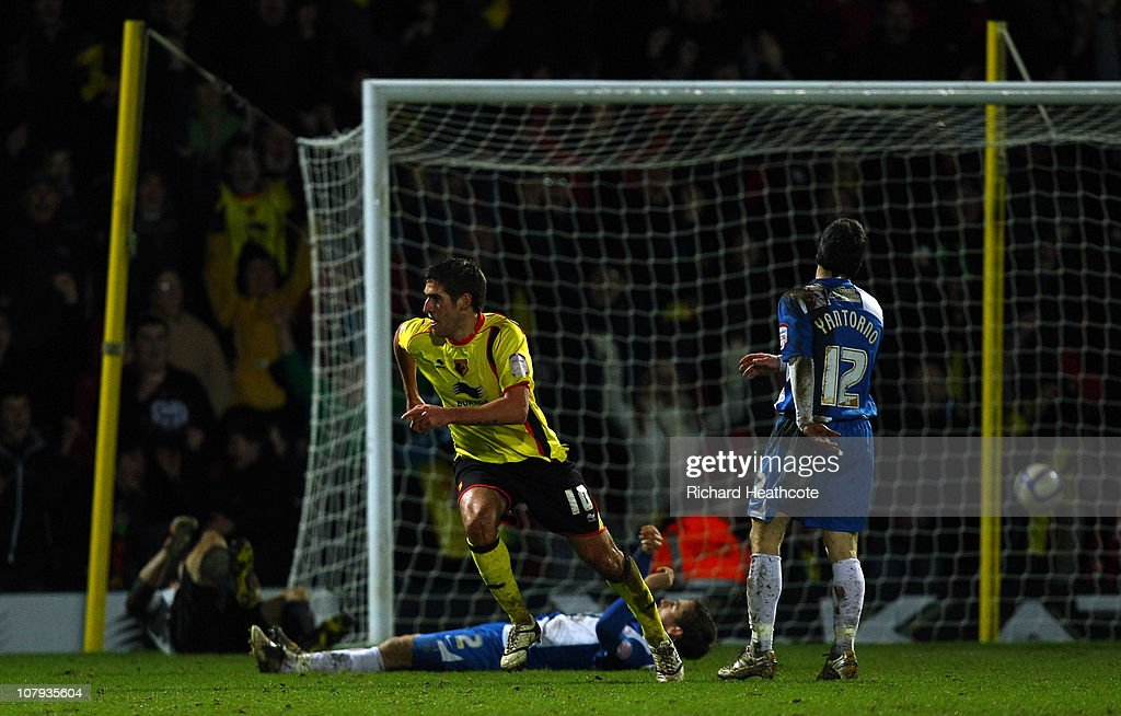 Danny Graham of Watford scores the 3rd goal during the 3rd round FA Cup Sponsored by E.ON match between Watford and Hartlepool United at Vicarage Road on January 8, 2011 in Watford, England.