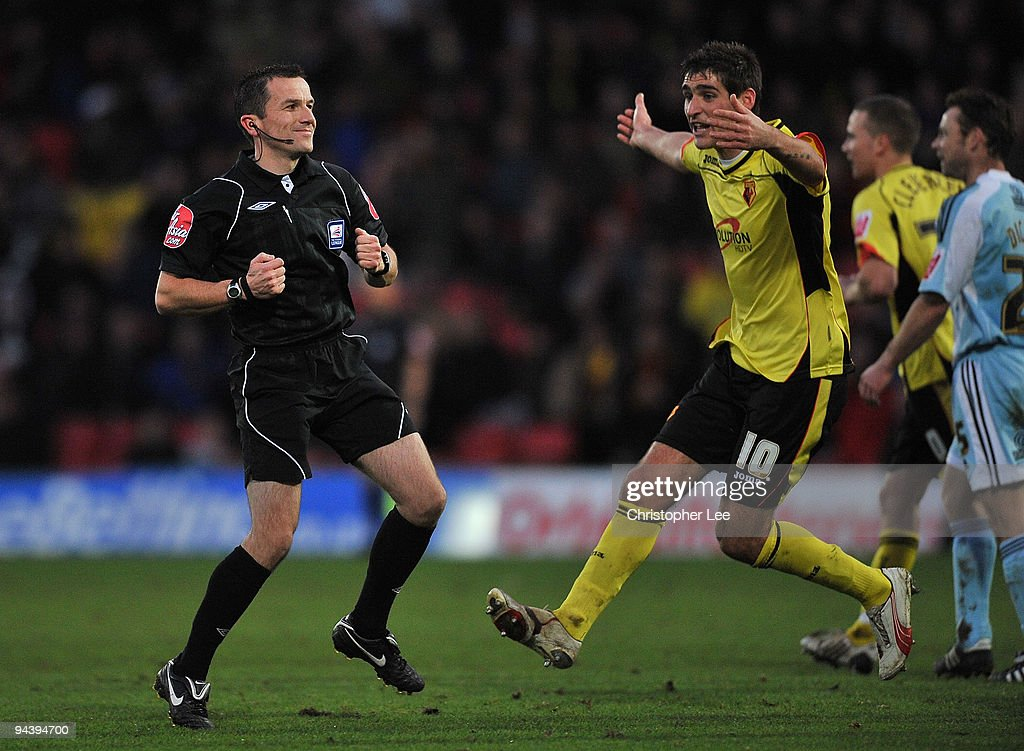 Danny Graham of Watford tries to appeal to referee Keith Stroud during the Coca-Cola Championship match between Watford and Derby County at Vicarage Road on December 12, 2009 in Watford, England.