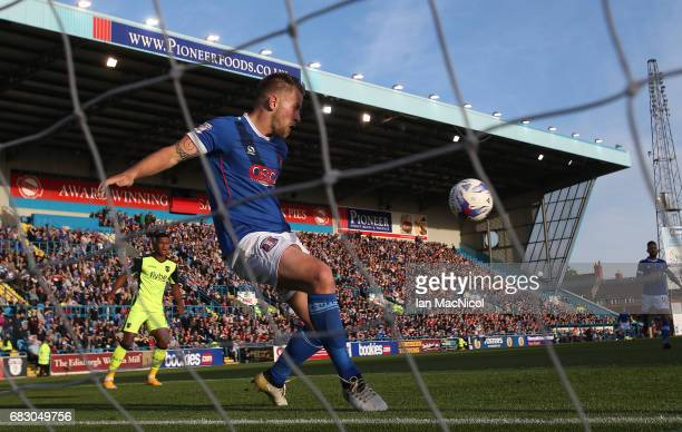 Danny Grainger of Carlisle United fails to stop David Wheeler of Exeter City scoring his team's third goal during the Sky Bet League Two match...