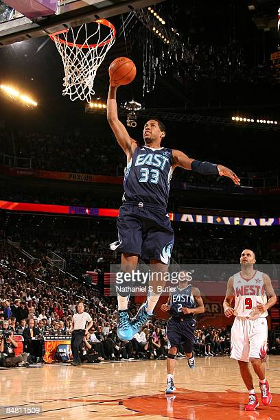 Danny Granger of the Eastern Conference dunks during the 58th NBA AllStar Game part of 2009 NBA AllStar Weekend at US Airways Center on February 15...