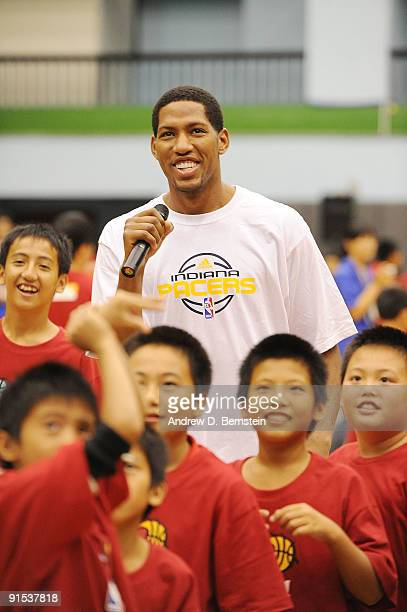 Danny Granger of the Indiana Pacers during an NBA Cares event on October 7 2009 at Taipei Gymnasium in Taipei Taiwan NOTE TO USER User expressly...
