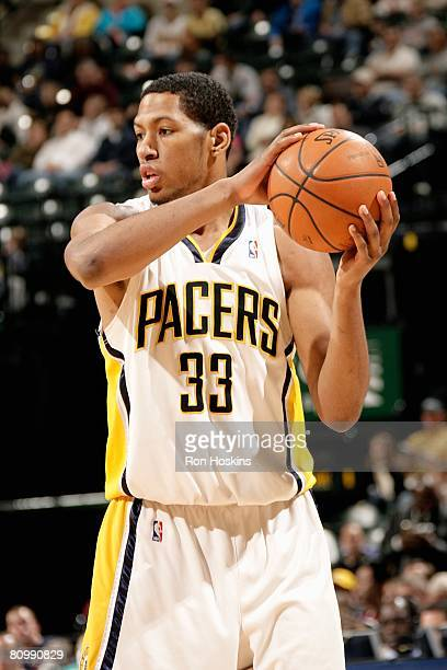 Danny Granger of the Indiana Pacers looks to set up a play against the Charlotte Bobcats during the game on April 12, 2008 at Conseco Fieldhouse in...