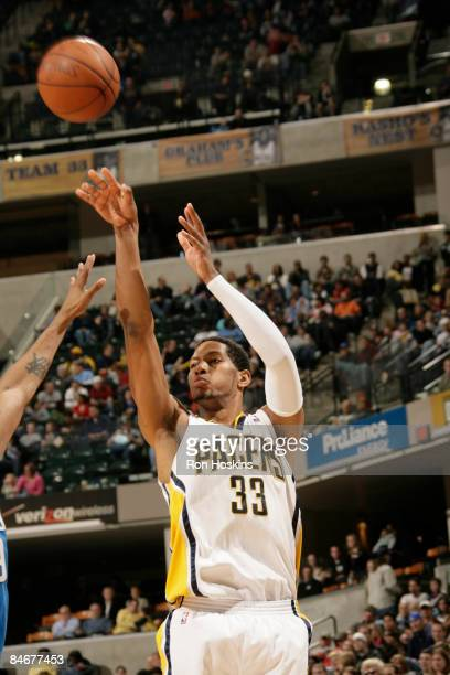 Danny Granger of the Indiana Pacers shoots a jumper against the Orlando Magic at Conseco Fieldhouse on February 6, 2009 in Indianapolis, Indiana....