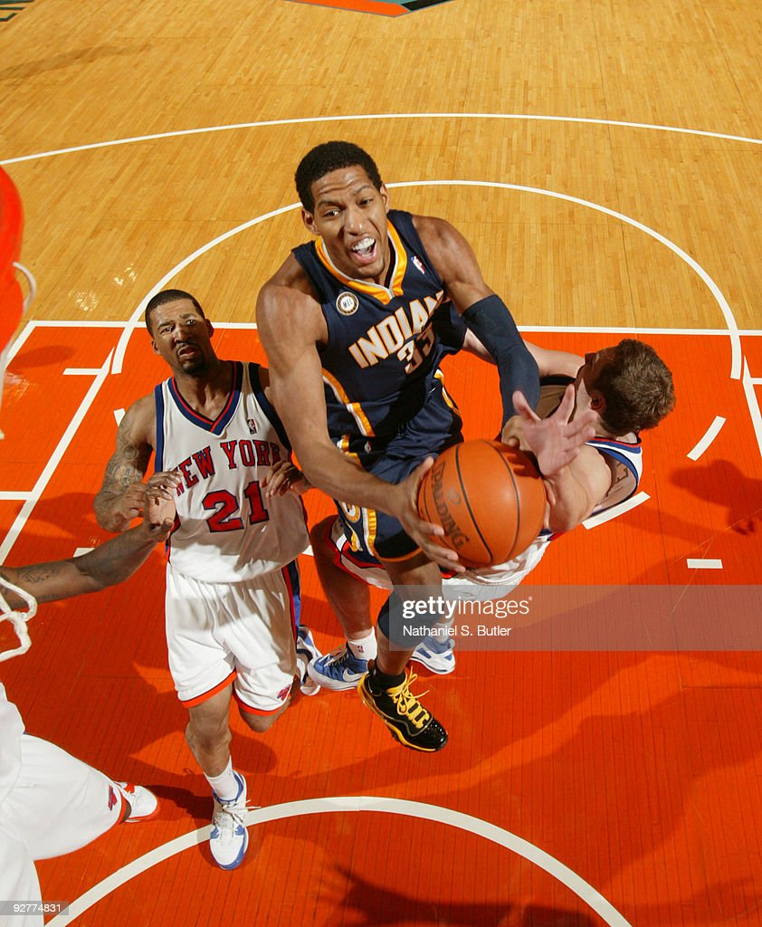 Danny Granger #33 of the Indiana Pacers shoots against Wilson Chandler #21 of the New York Knicks on November 4, 2009 at Madison Square Garden in New York City.