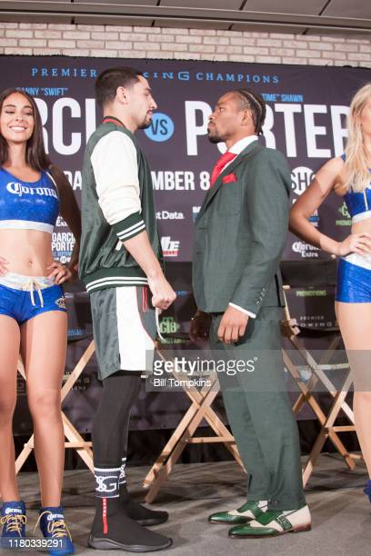 Danny grcia and Shawn Porter faceoff and pose during the Final Press Conference for their upcoming fight at Dream Hotel on September 6, 2018 in...