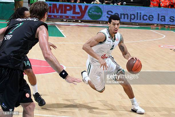 Danny Green #14 of Union Olimpija Ljubljana in action during the 20112012 Turkish Airlines Euroleague Regular Season Game Day 2 between Montepaschi...