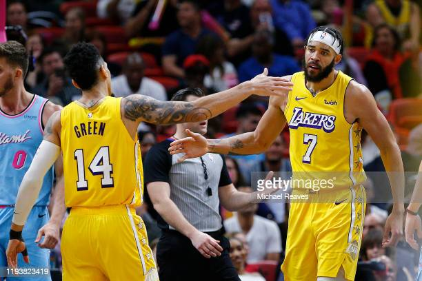 Danny Green and JaVale McGee of the Los Angeles Lakers celebrate against the Miami Heat during the second half at American Airlines Arena on December...