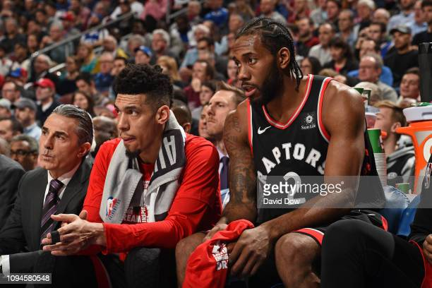 Danny Green and Kawhi Leonard of the Toronto Raptors look on during the game against the Philadelphia 76ers on February 5 2019 at the Wells Fargo...