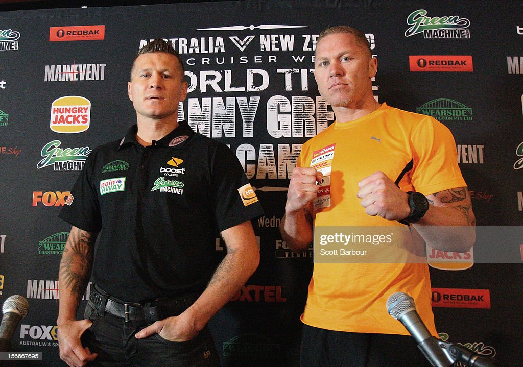 Danny Green (L) of Australia and Shane Cameron of New Zealand pose during a press conference at Crown Entertainment Complex on November 19, 2012 in Melbourne, Australia. Danny Green and Shane Cameron meet in an IBO World Title bout on Wednesday.