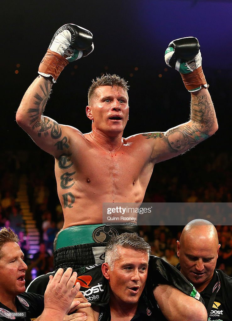Danny Green of Australia celebrates winning the world title bout between Danny Green of Australia and Shane Cameron of New Zealand at Hisense Arena on November 21, 2012 in Melbourne, Australia.