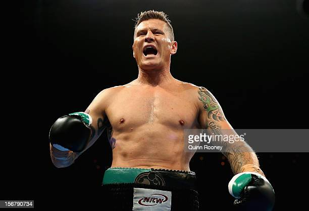 Danny Green of Australia prepares to fight in his world title bout between Danny Green of Australia and Shane Cameron of New Zealand at Hisense Arena...