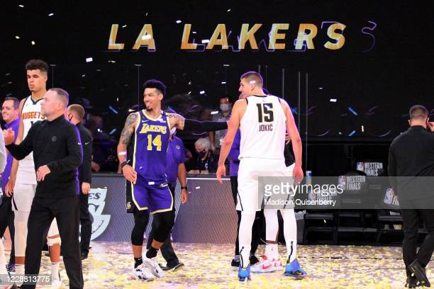 Danny Green of the Los Angeles Lakers and Nikola Jokic of the Denver Nuggets talk after Game Five of the Western Conference Finals of the NBA...