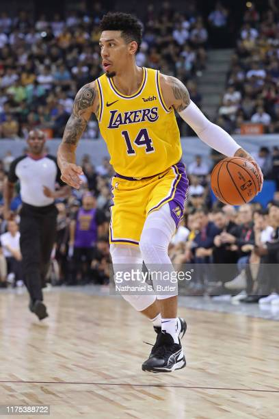 Danny Green of the Los Angeles Lakers dribbles the ball against the Brooklyn Nets during a preseason game as part of 2019 NBA Global Games China on...