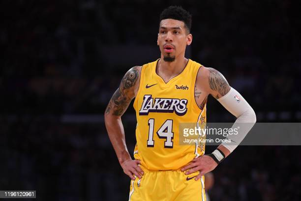 Danny Green of the Los Angeles Lakers looks on from the court in the game against the Los Angeles Clippers at Staples Center on December 25 2019 in...