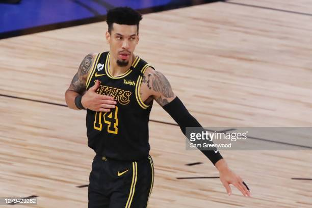 Danny Green of the Los Angeles Lakers reacts during the fourth quarter against the Miami Heat in Game Five of the 2020 NBA Finals at AdventHealth...