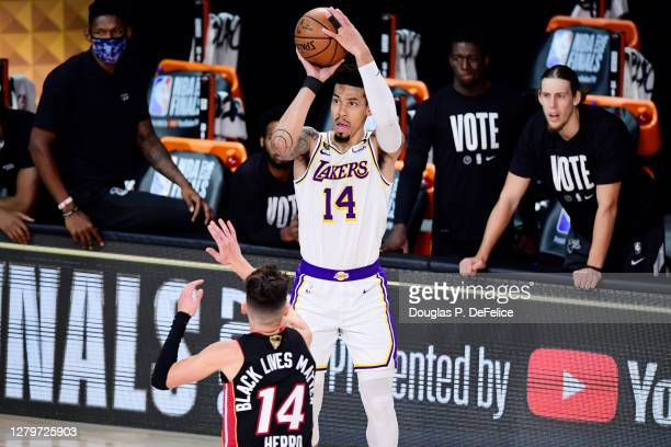 Danny Green of the Los Angeles Lakers shoots the ball over Tyler Herro of the Miami Heat during the fourth quarter in Game Six of the 2020 NBA Finals...