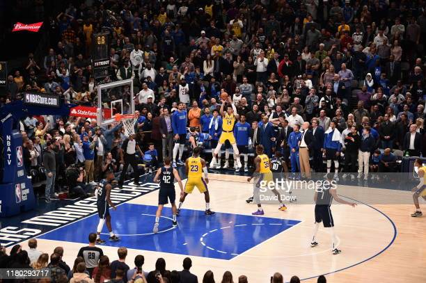 Danny Green of the Los Angeles Lakers shoots the ball to send the game into overtime against the Dallas Mavericks on November 1, 2019 at the American...