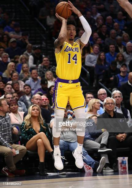 Danny Green of the Los Angeles Lakers takes a shot against the Dallas Mavericks in the second quarter at American Airlines Center on November 01 2019...