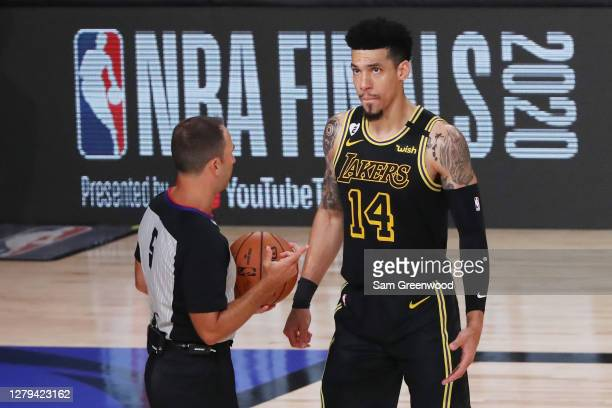 Danny Green of the Los Angeles Lakers talks with referee Kane Fitzgerald during the second quarter against the Miami Heat in Game Five of the 2020...
