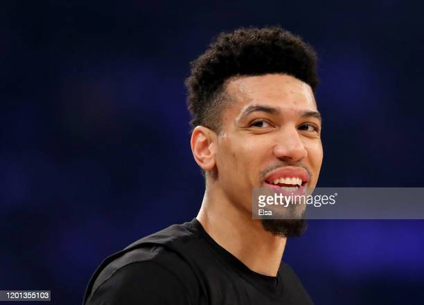 Danny Green of the Los Angeles Lakers warms up before the game against the New York Knicks at Madison Square Garden on January 22 2020 in New York...