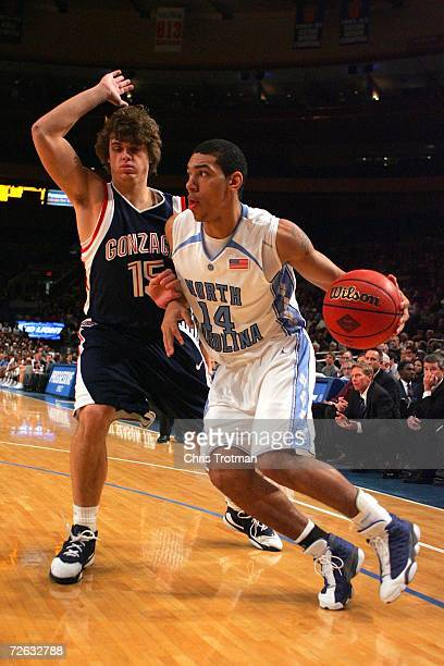 Danny Green of the North Carolina Tar Heels guards the ball from Matt Bouldin of the Gonzaga Bulldogs during their Preseason NIT Tournament game on...