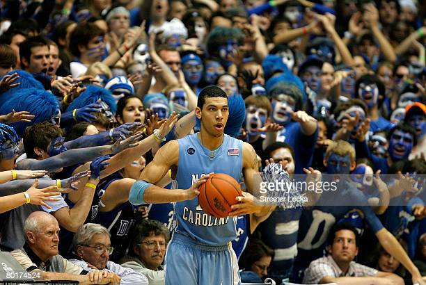 Danny Green of the North Carolina Tar Heels throws the ball in against the Duke Blue Devils during the second half at Cameron Indoor Stadium on March...