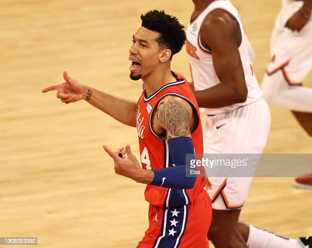 Danny Green of the Philadelphia 76ers celebrates his three point shot against the New York Knicks at Madison Square Garden on March 21, 2021 in New...