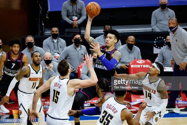Danny Green of the Philadelphia 76ers shoots during the second quarter against the Denver Nuggets at Wells Fargo Center on January 09, 2021 in...